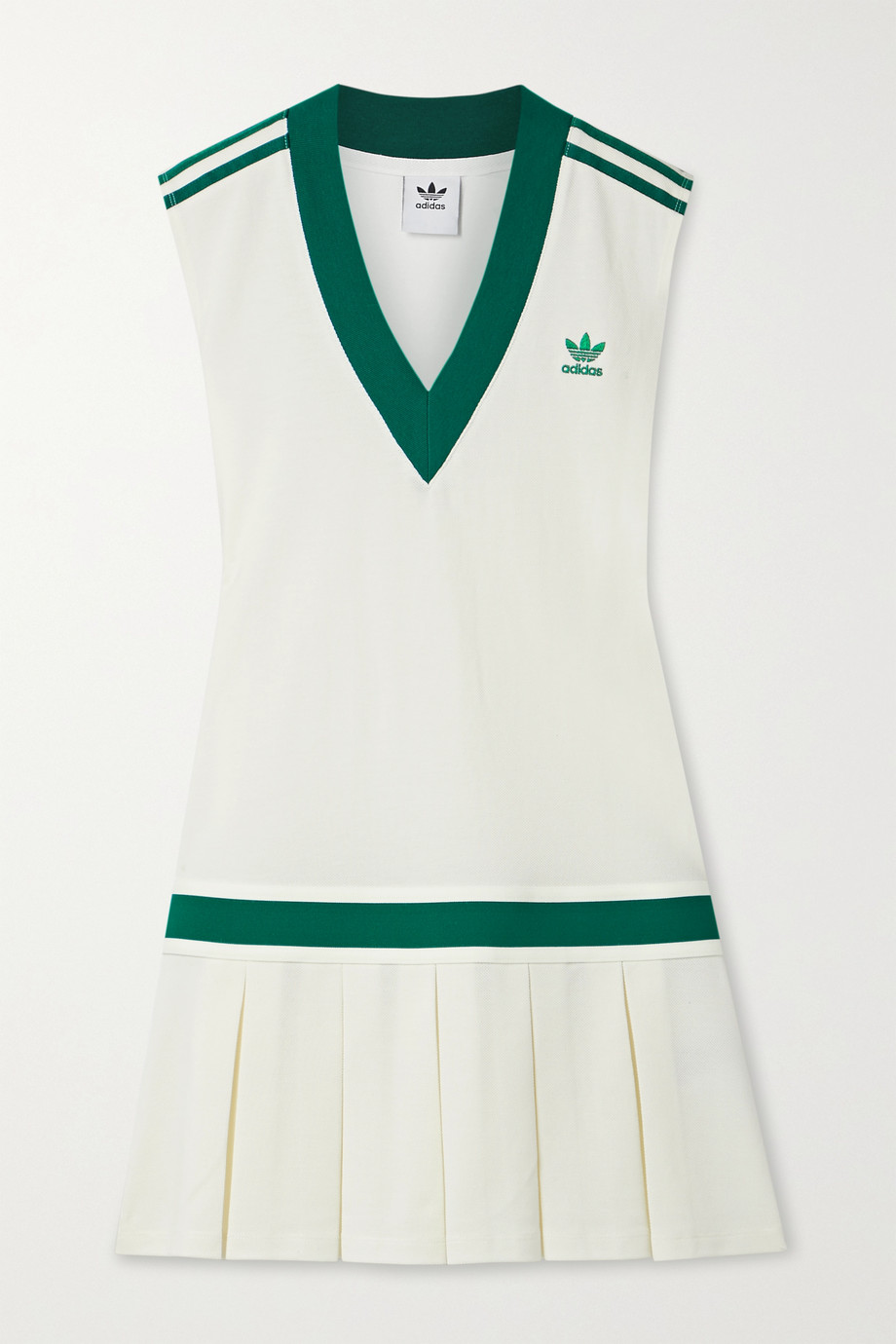 adidas Originals Striped pleated recycled piqué tennis dress