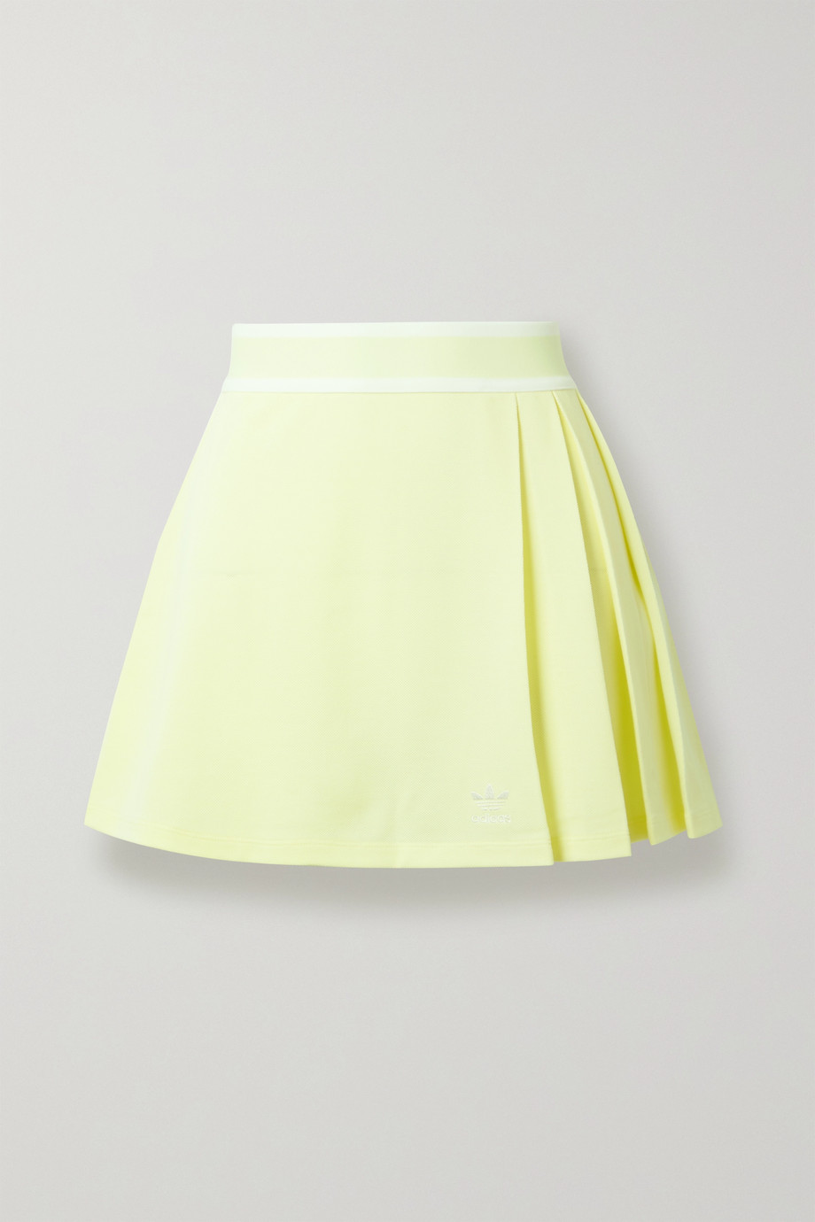 adidas Originals Striped pleated recycled piqué mini skirt