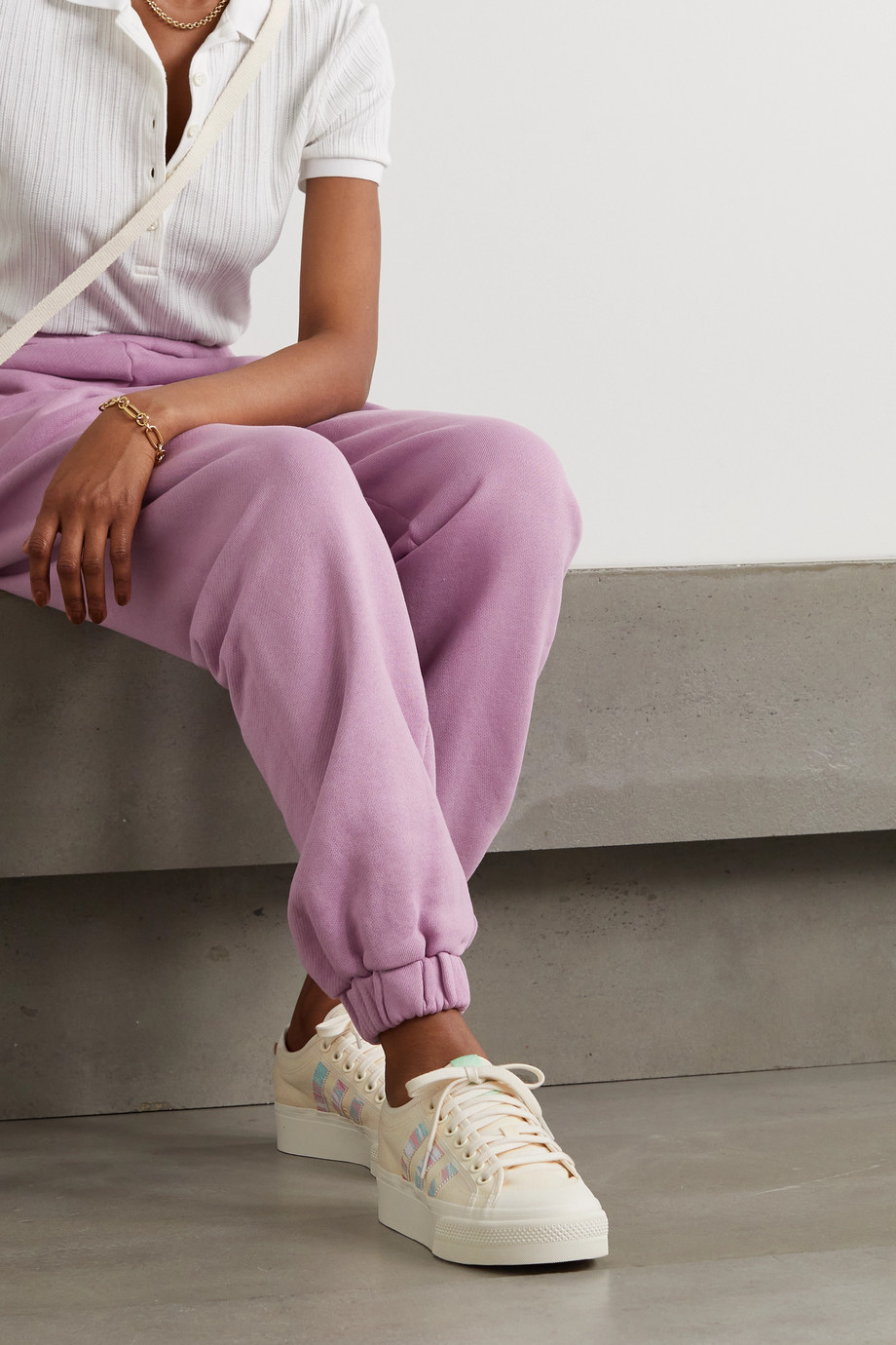 adidas Originals Nizza rubber-trimmed canvas platform sneakers