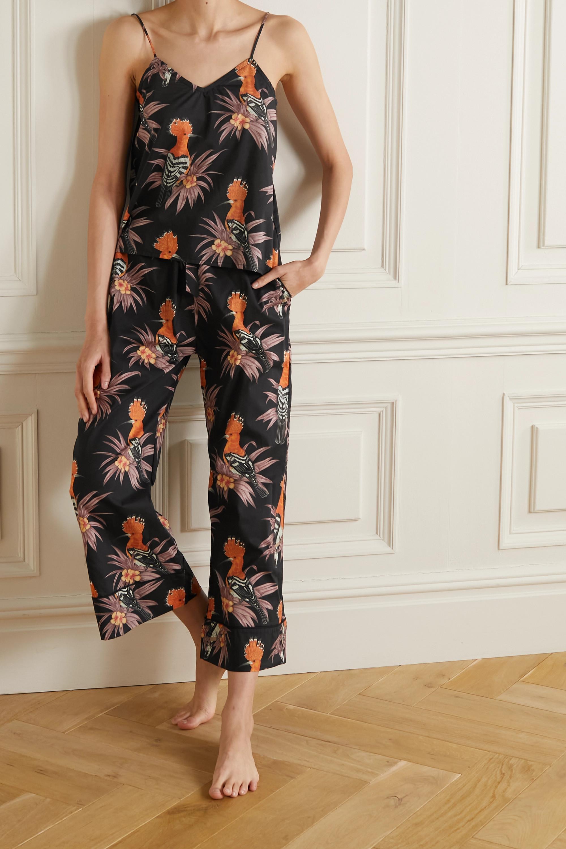Desmond & Dempsey Cropped printed cotton-voile pajama set