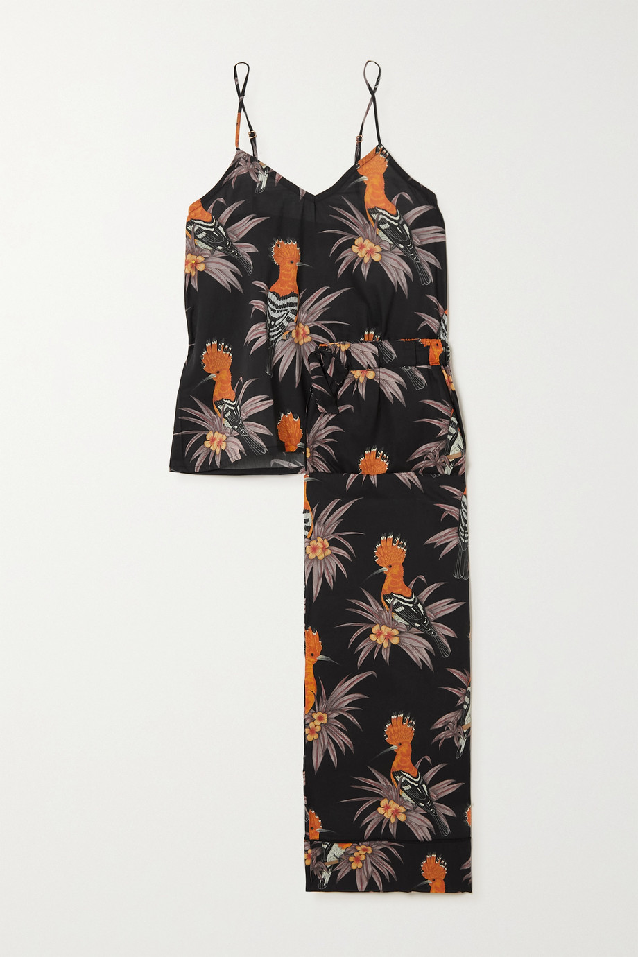 Desmond & Dempsey Cropped printed cotton-voile pajama set