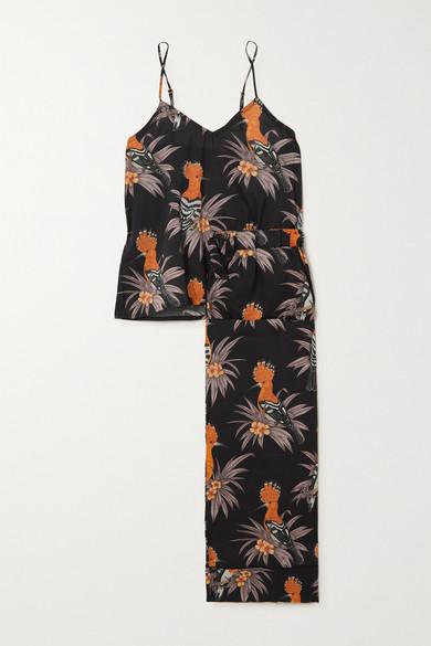 Desmond & Dempsey Cropped Printed Cotton-voile Pajama Set In Black