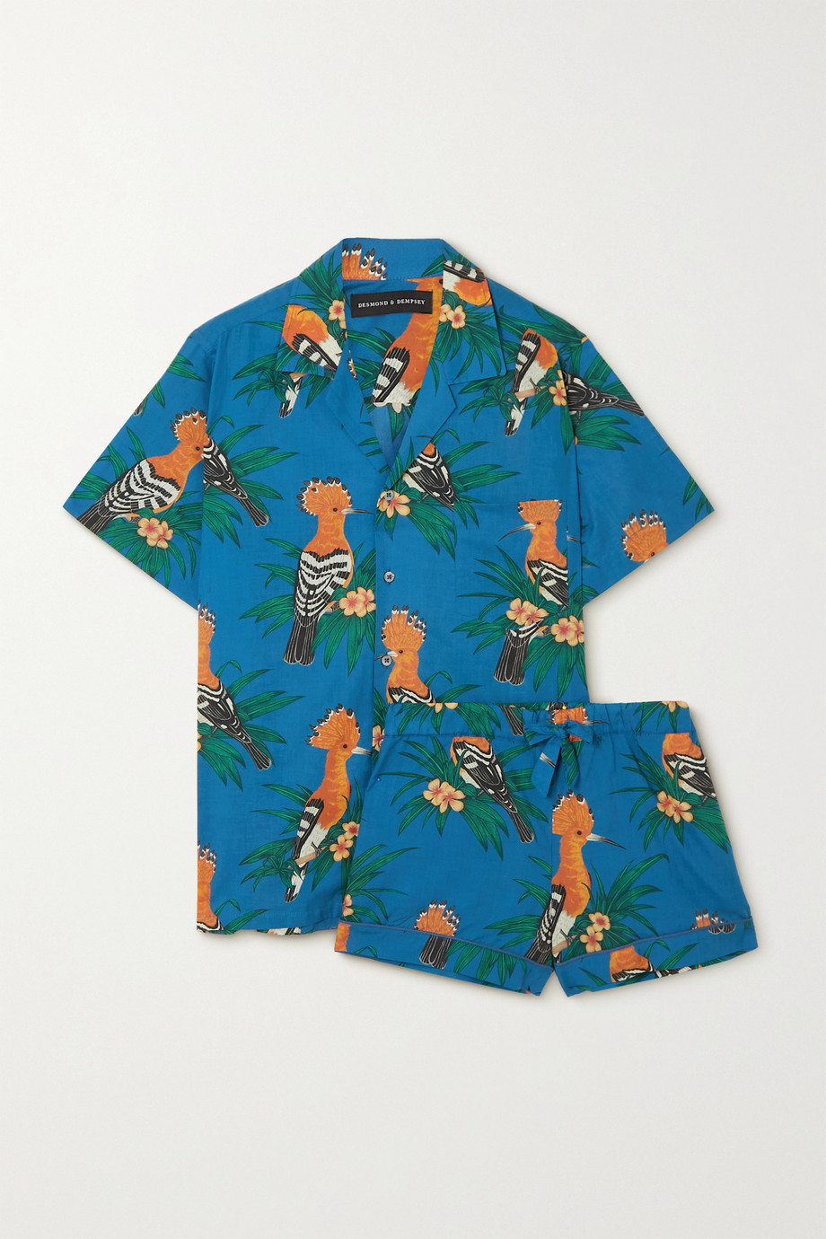 Desmond & Dempsey Pyjama en voile de coton imprimé
