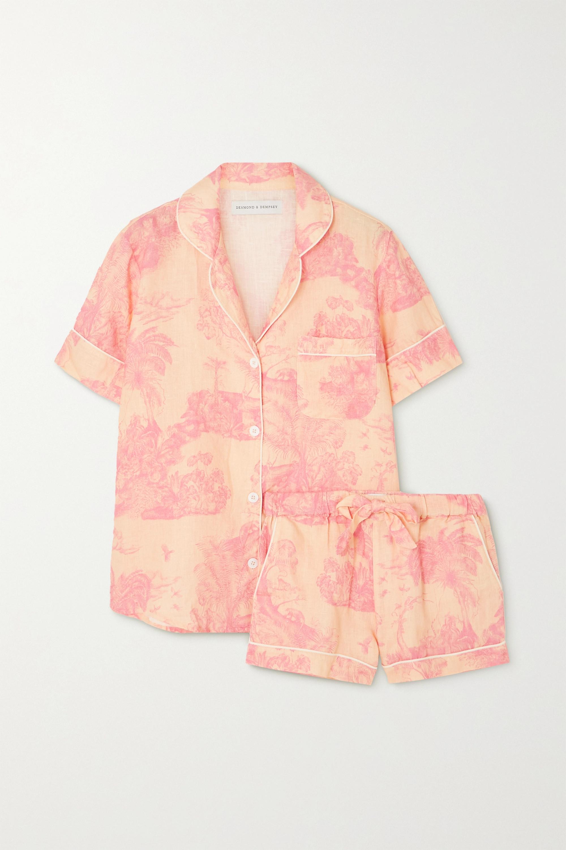 Desmond & Dempsey Lowland Forest printed linen pajama set