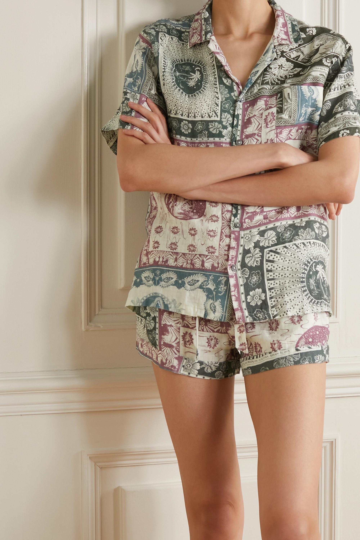 Desmond & Dempsey Printed linen pajama set