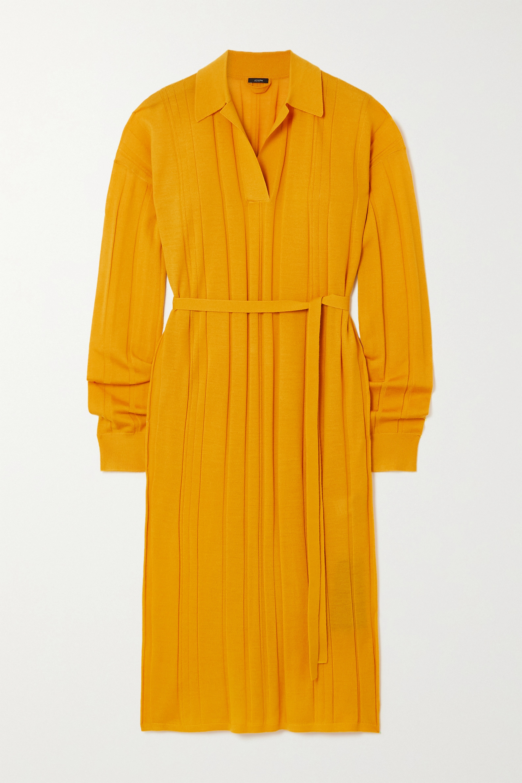 Joseph Belted merino wool-blend midi dress
