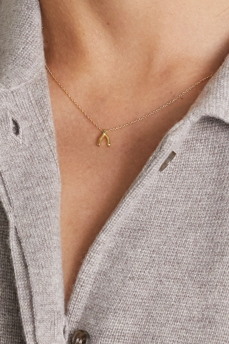 Jennifer Meyer Mini Wishbone 18-karat gold necklace