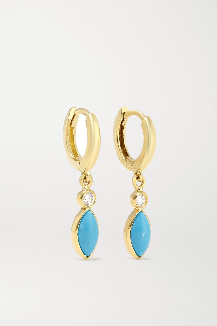 Jennifer Meyer 18-karat gold, turquoise and diamond hoop earrings