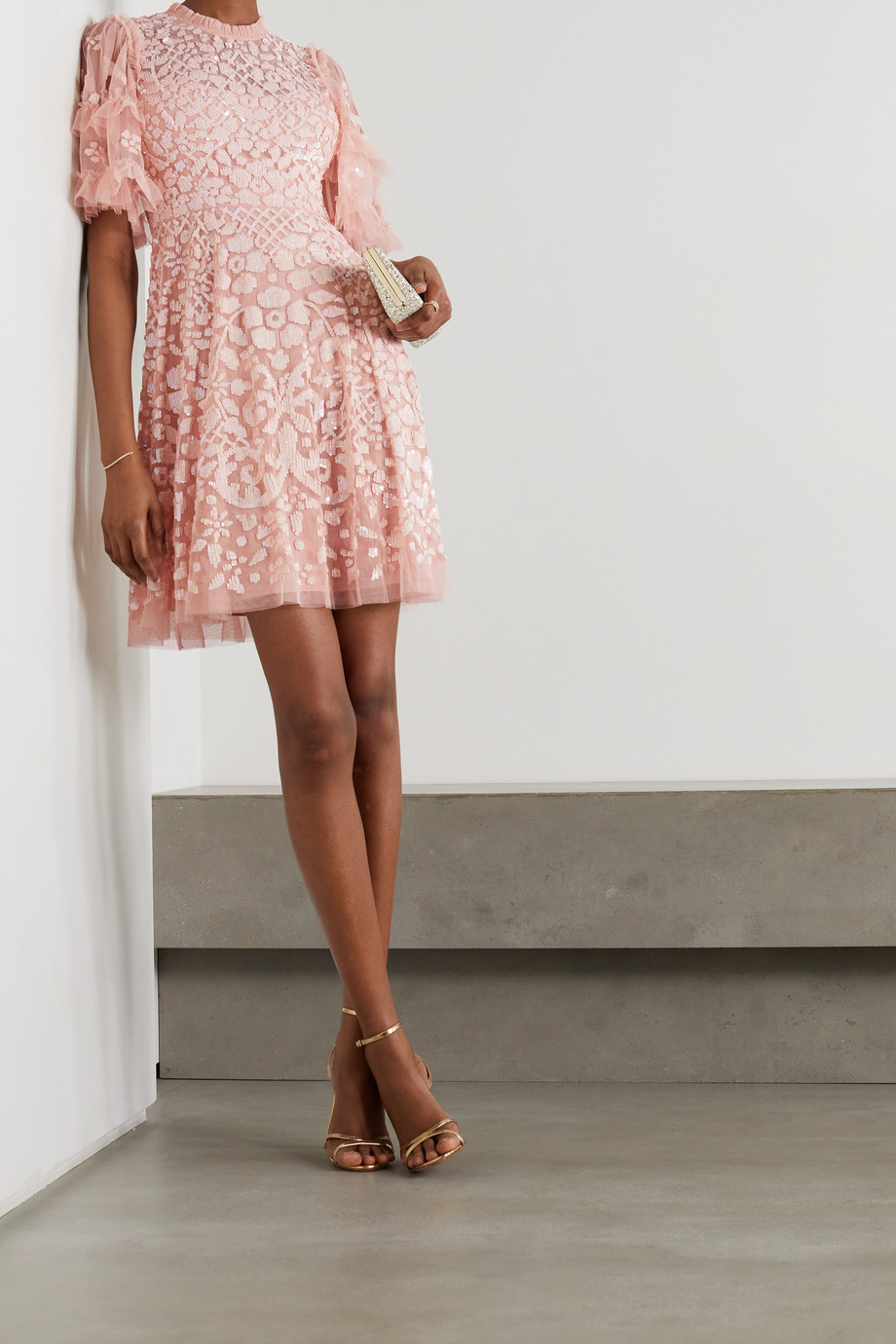 Needle & Thread Aurelia sequin-embellished ruffled tulle mini dress