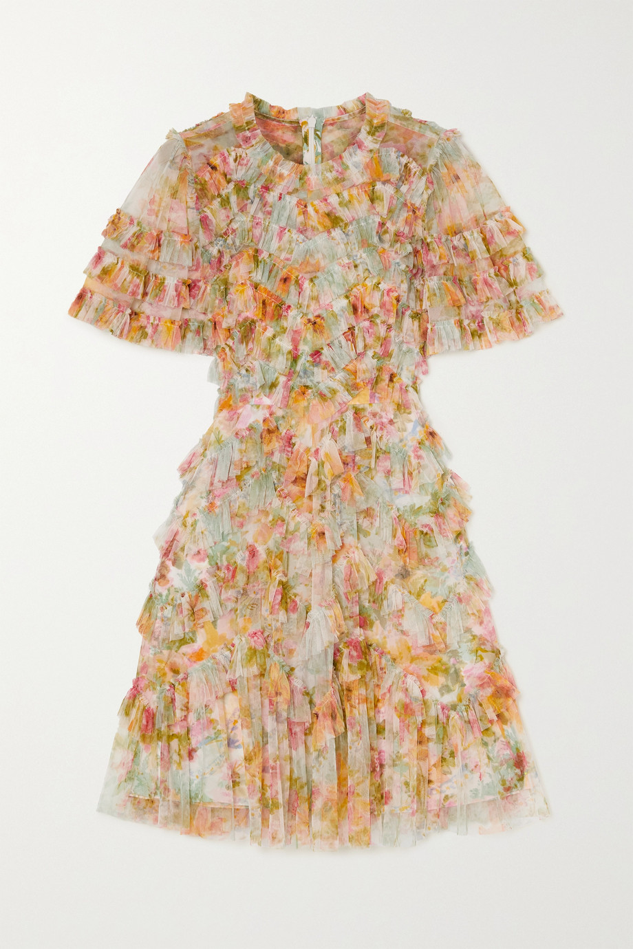 Needle & Thread Sunset Garden ruffled floral-print tulle mini dress