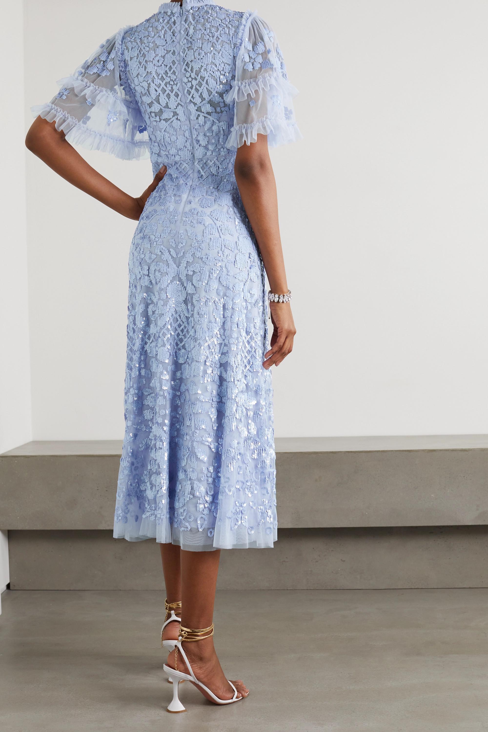 Needle & Thread Aurelia Ballerina sequin-embellished ruffled tulle midi dress