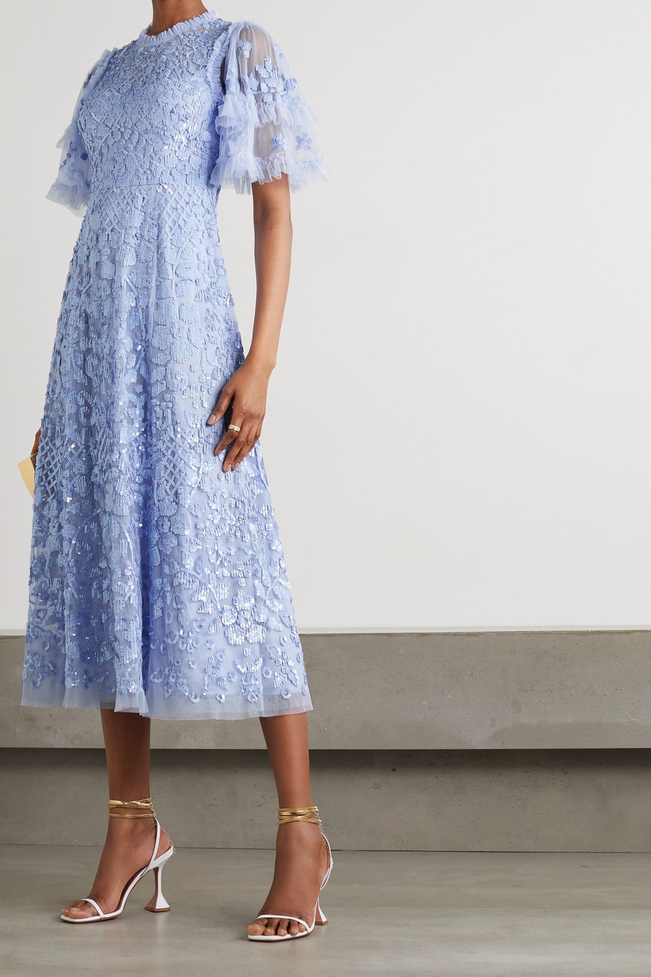 Needle & Thread Aurelia Ballerina sequin-embellished ruffled tulle midi dress