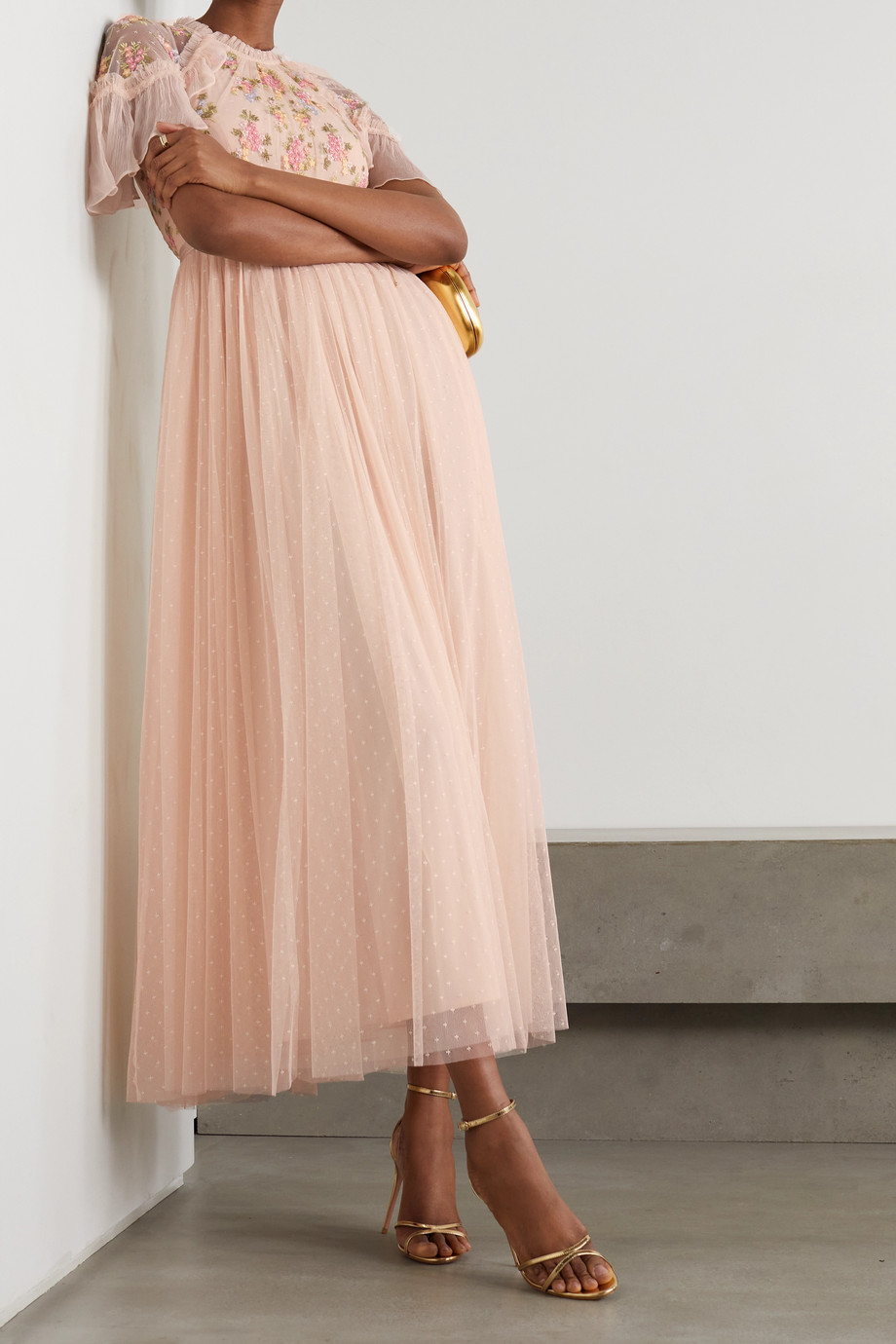 Needle & Thread Emma ruffled embroidered tulle midi dress