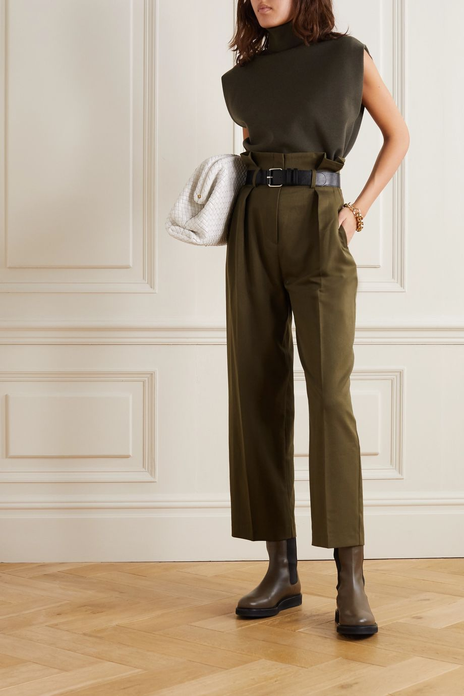Frankie Shop Belted pleated twill tapered pants