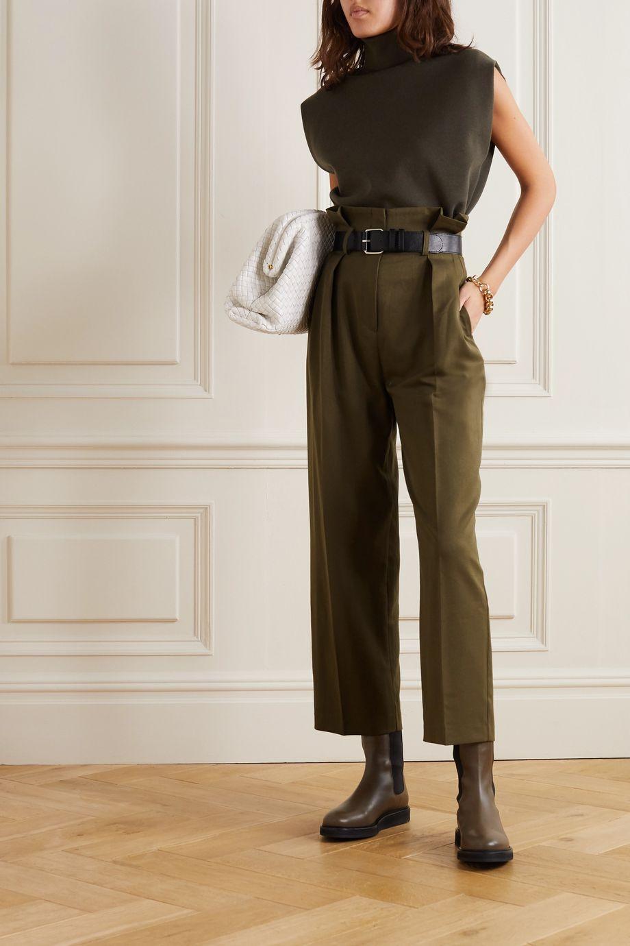 Frankie Shop 配腰带褶裥斜纹布锥形裤