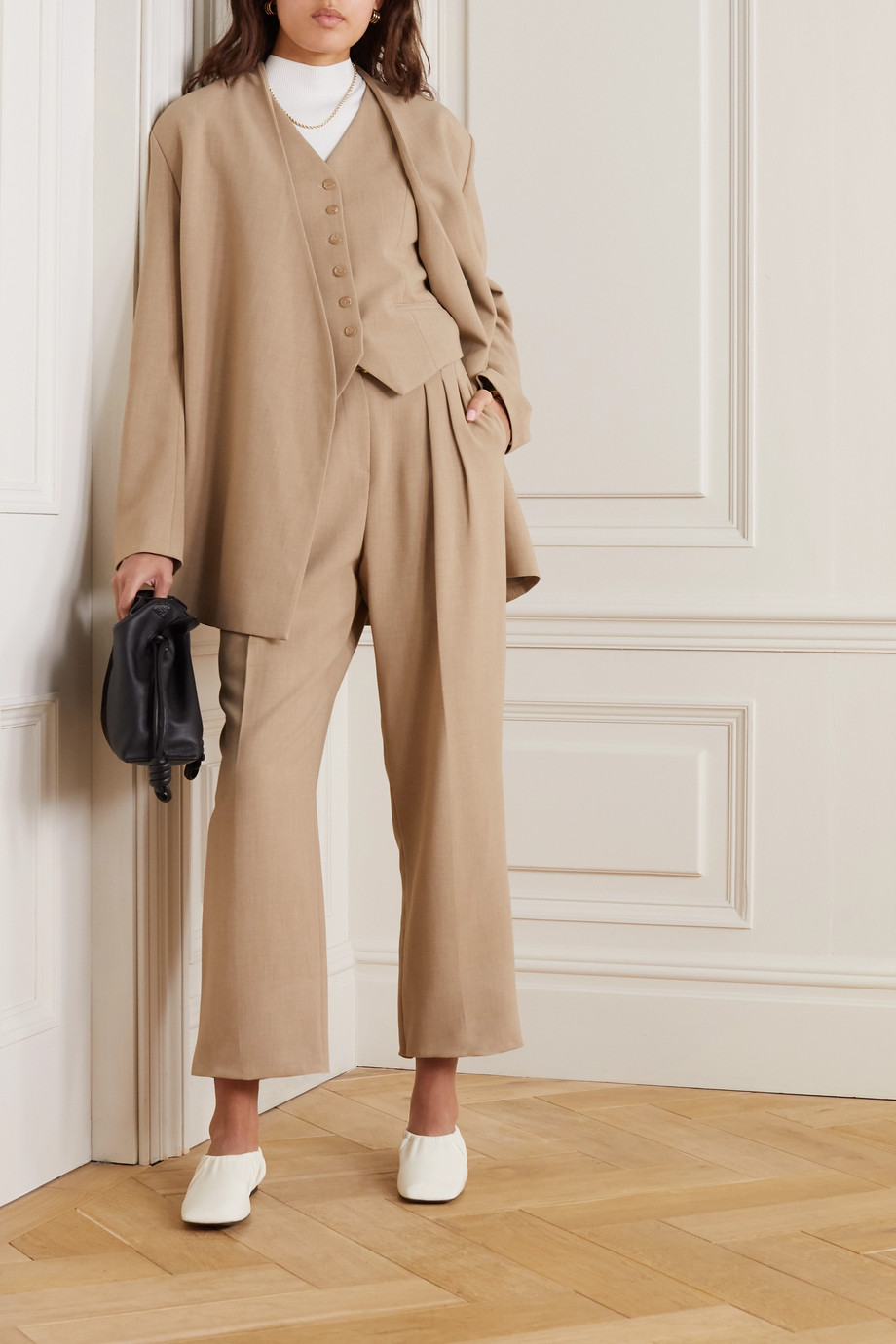 Frankie Shop Belted pleated woven pants