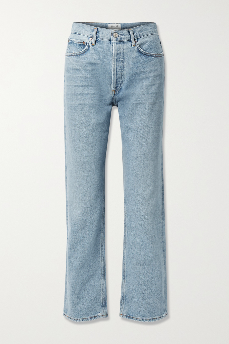 AGOLDE + NET SUSTAIN Lana distressed organic mid-rise straight-leg jeans