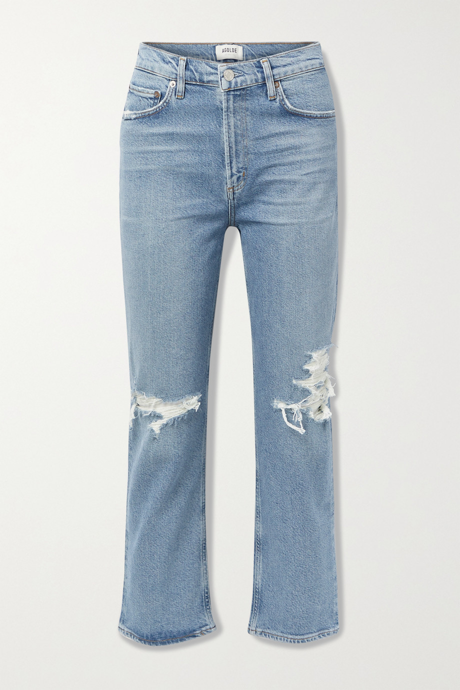 AGOLDE + NET SUSTAIN Wilder organic distressed high-rise straight-leg jeans