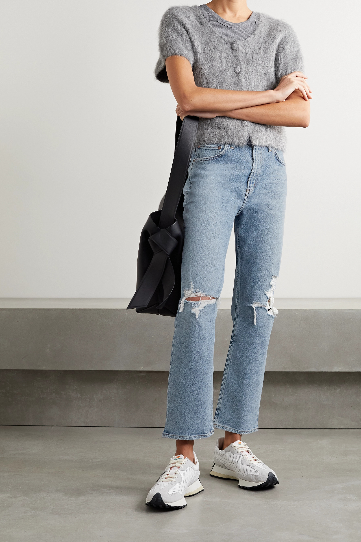 AGOLDE + NET SUSTAIN Wilder organic distressed high-rise straight-leg jeans