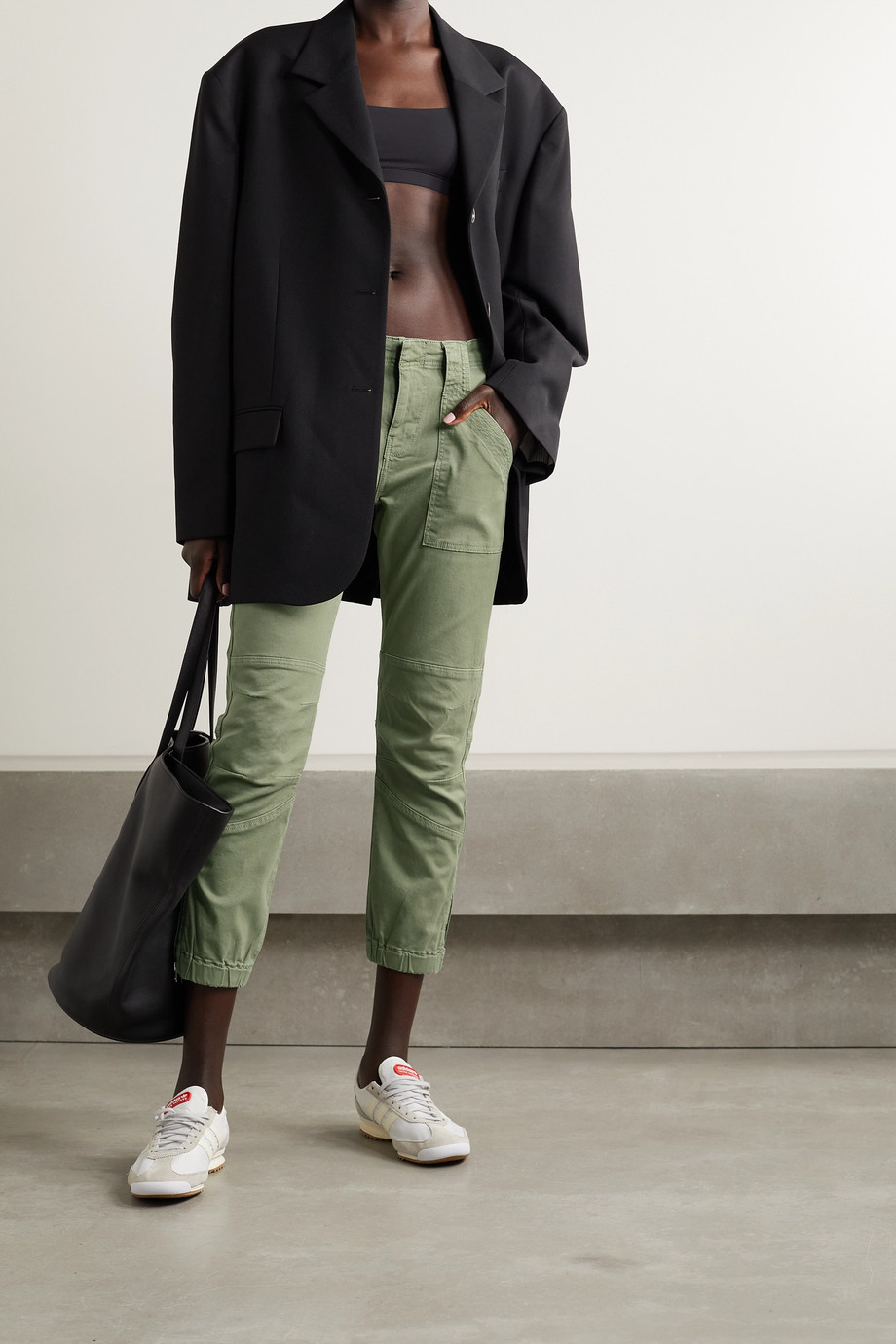 FRAME Paneled stretch-cotton twill tapered pants