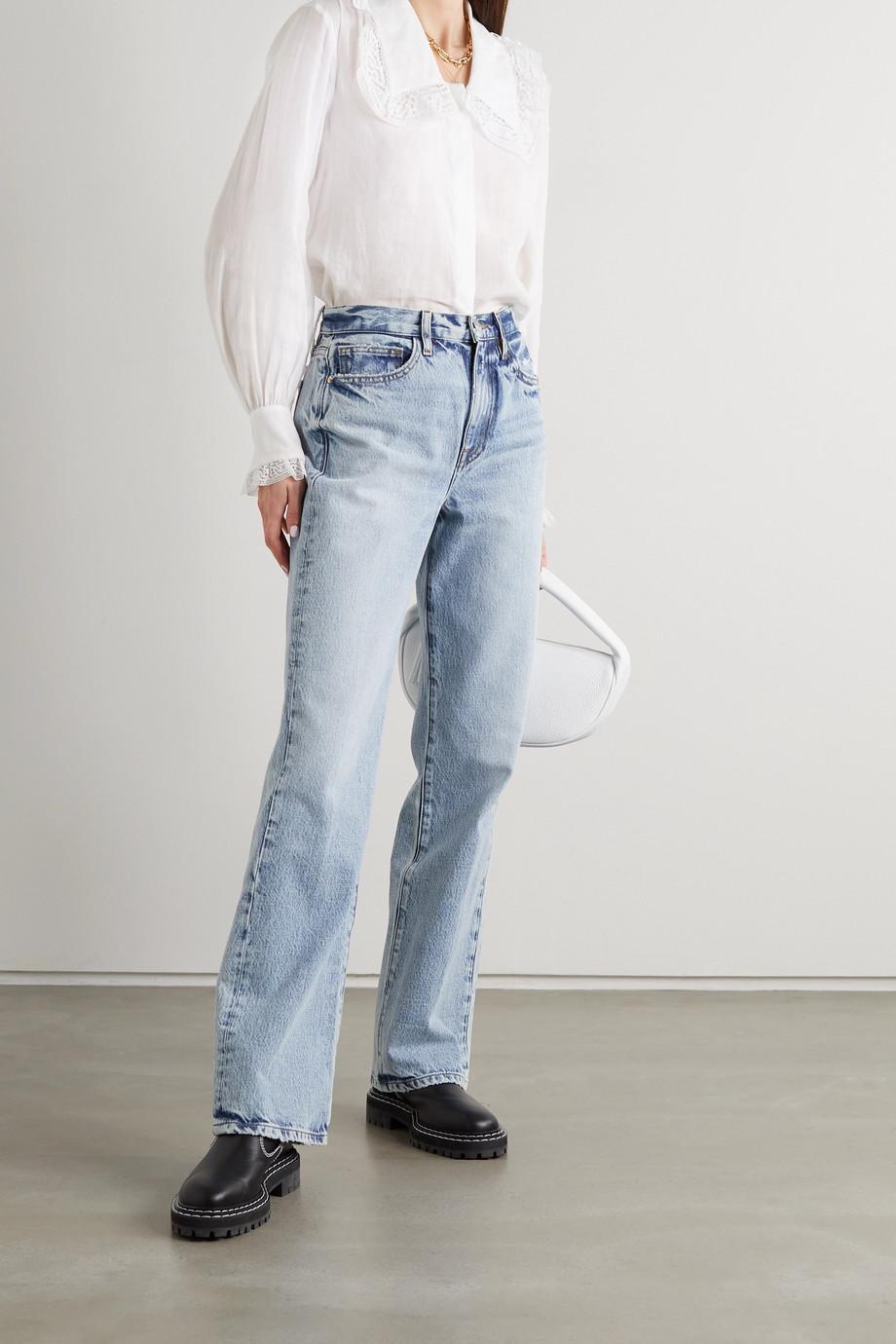 FRAME Crochet-trimmed ramie blouse