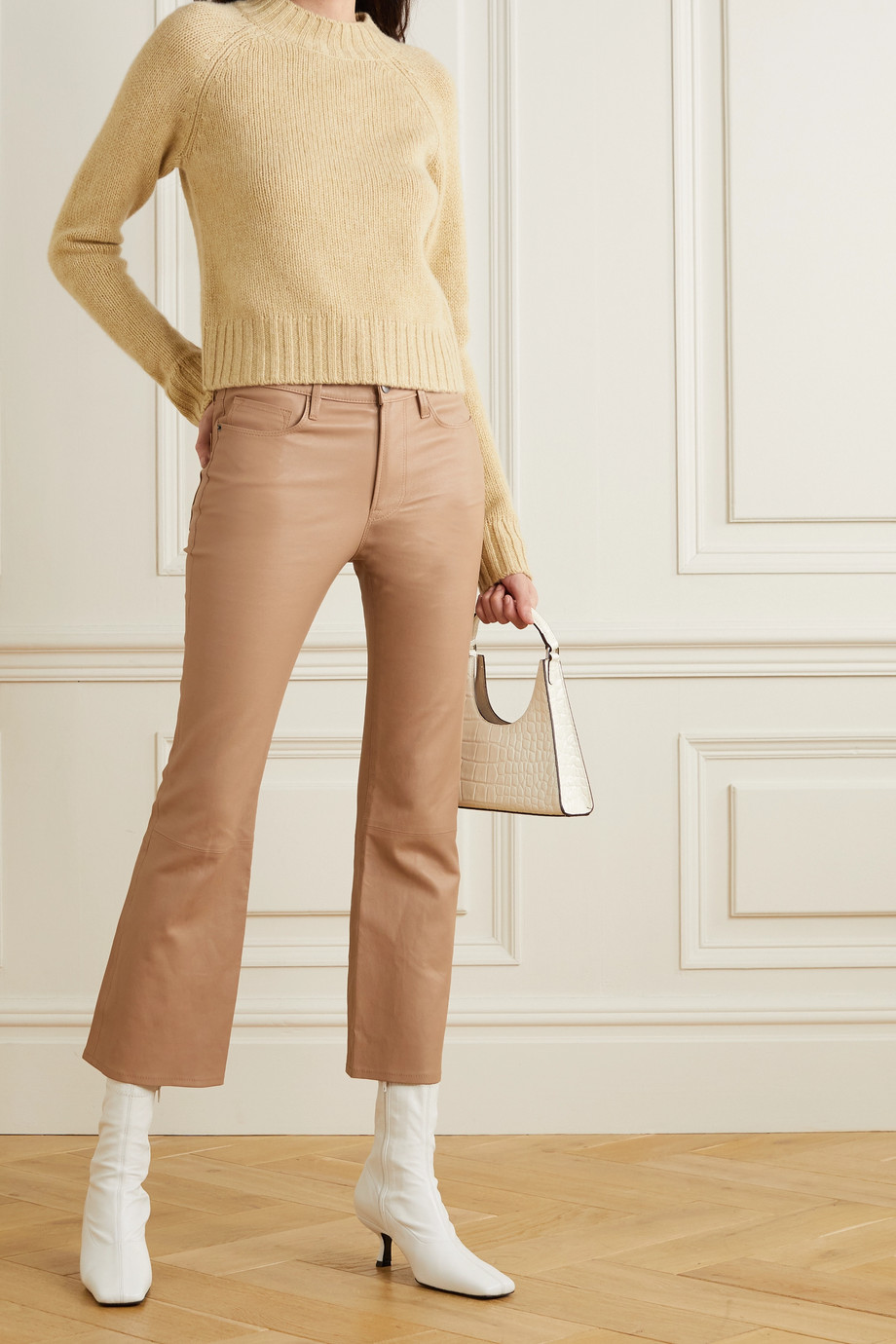 FRAME Le Crop Mini Boot Hose aus Leder