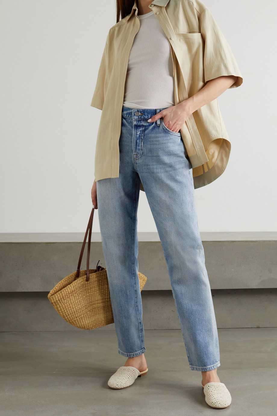 FRAME Le Slouch distressed boyfriend jeans