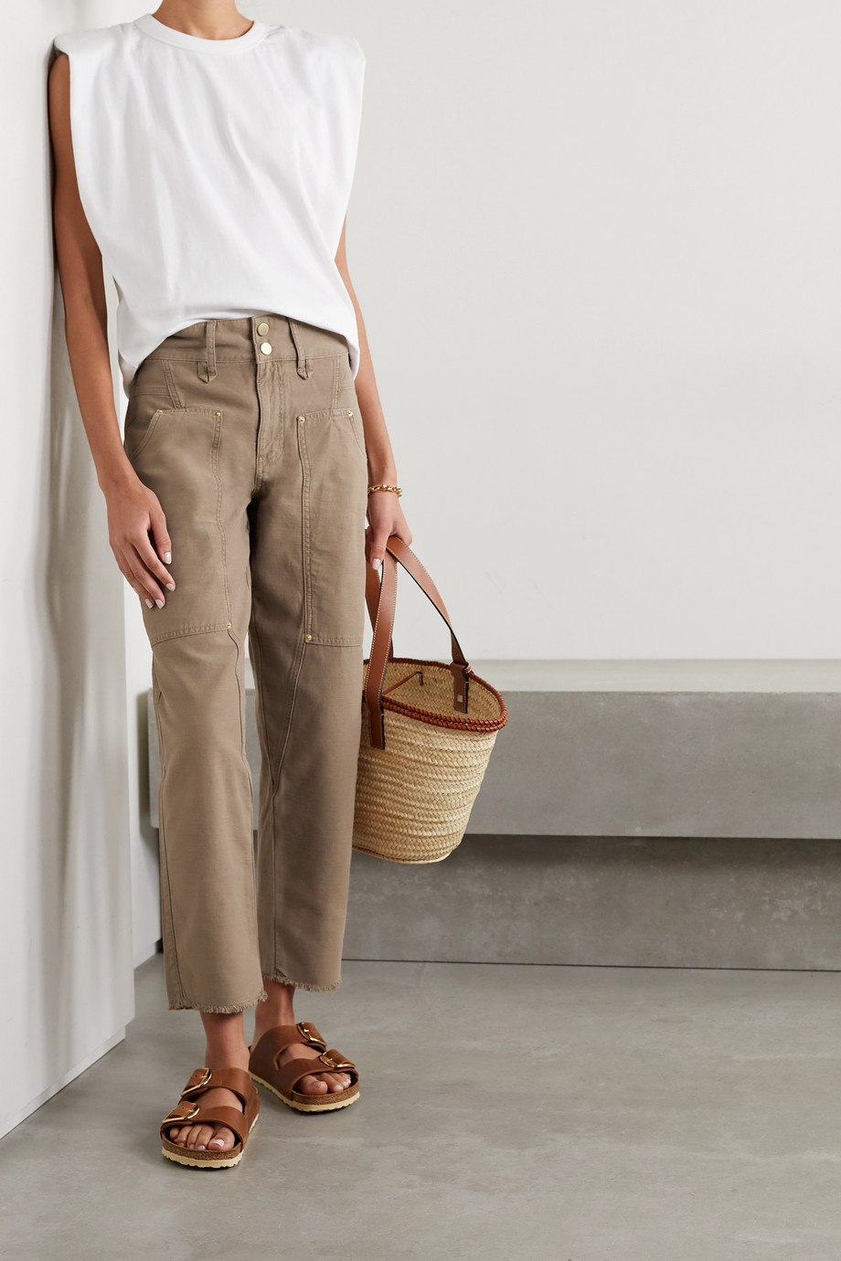 FRAME Pantalon droit en coton effet vieilli