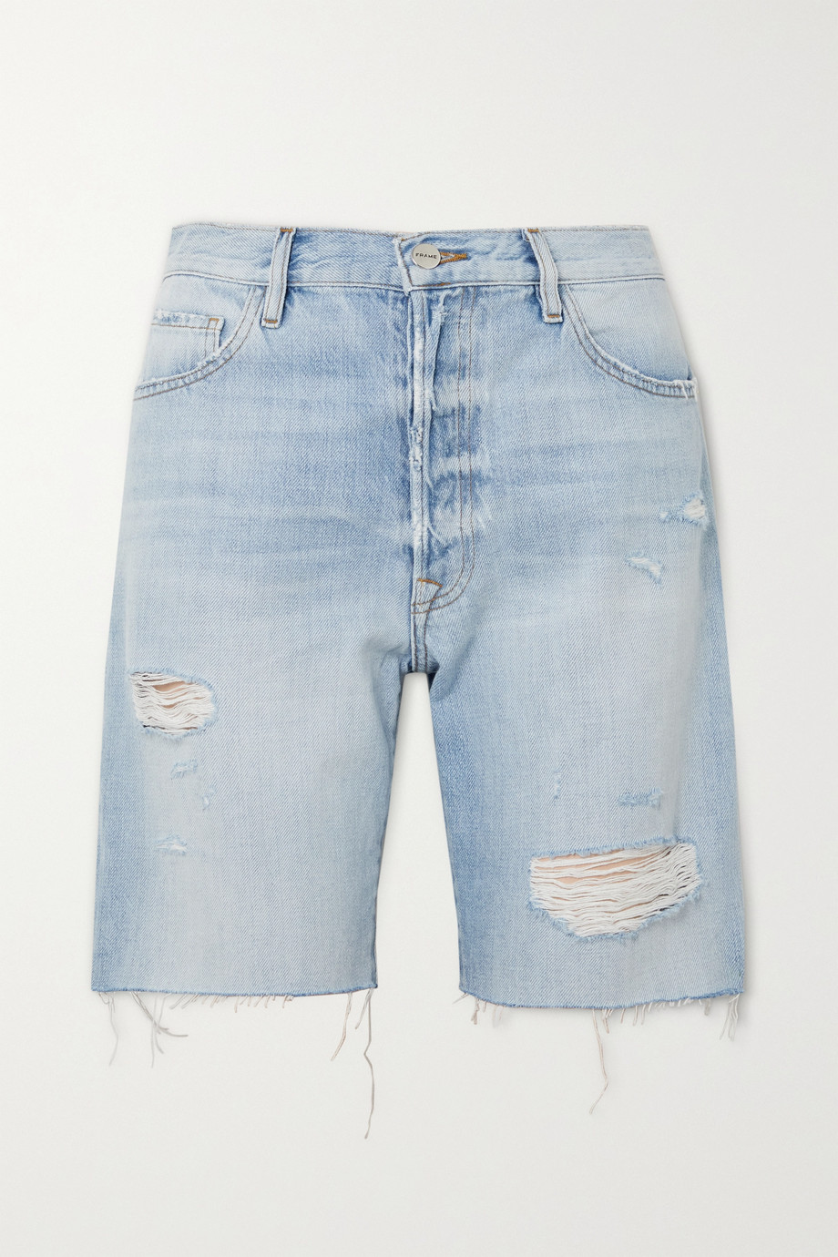 FRAME Le Slouch Bermuda frayed denim shorts