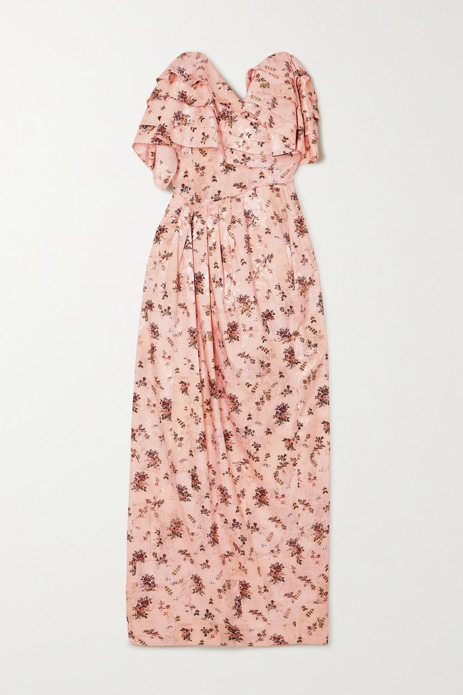 Preen by Thornton Bregazzi Novella strapless ruffled floral-print satin-jacquard dress