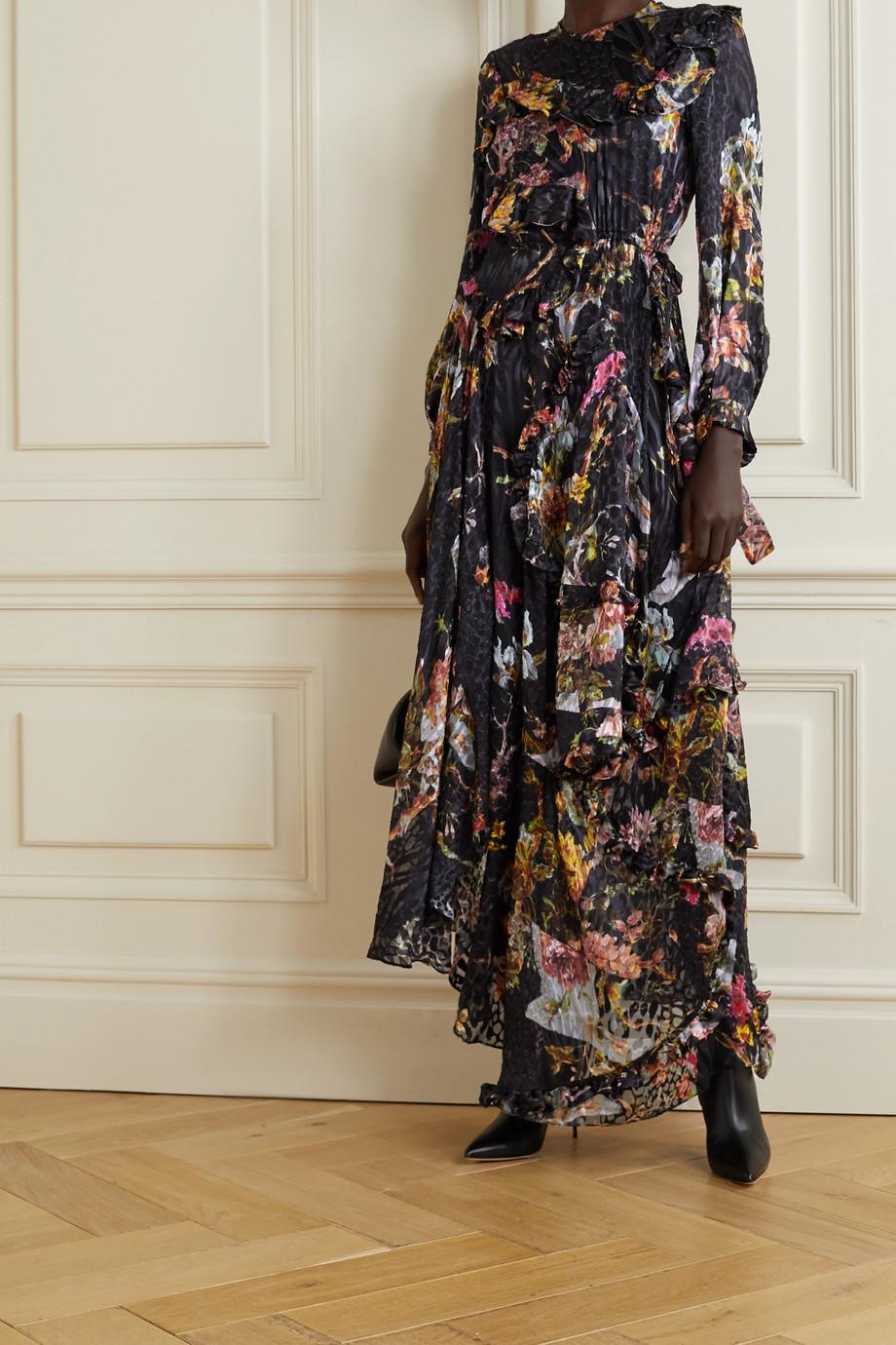Preen by Thornton Bregazzi Elda asymmetric floral-print devoré-satin dress