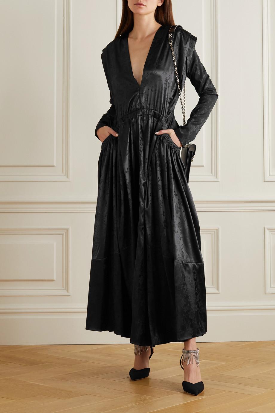 Preen by Thornton Bregazzi Clario gathered floral-jacquard maxi dress