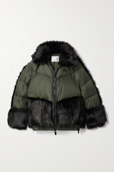 Nike SACAI NRG OVERSIZED HOODED FAUX FUR AND QUILTED SHELL DOWN JACKET