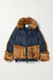 Nike + Sacai NRG oversized hooded faux fur and quilted shell down jacket