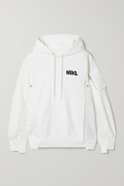 Nike + Sacai NRG oversized paneled printed cotton-blend jersey and shell hoodie