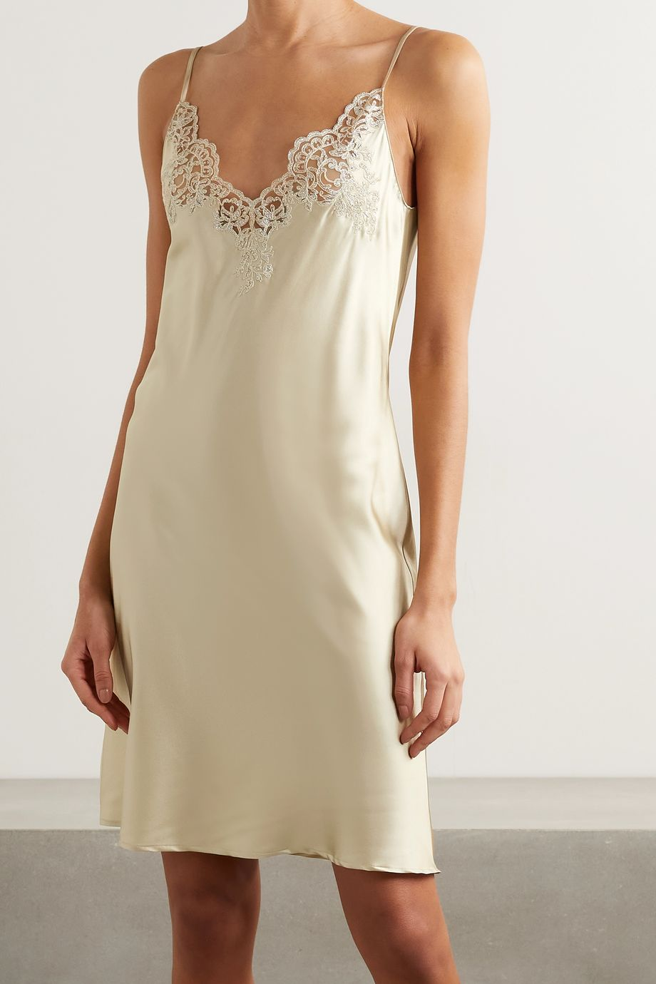 I.D. Sarrieri In The Mood For Love metallic lace-trimmed silk-blend satin chemise