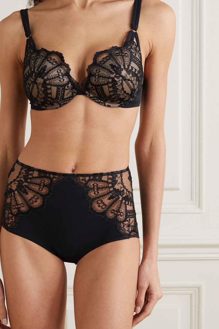 I.D. Sarrieri Rose Noir embroidered tulle and strech-jersey briefs