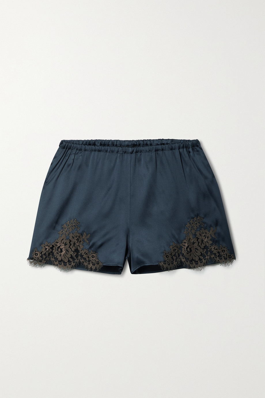 I.D. Sarrieri Hôtel Particulier Chantilly lace-trimmed silk-blend satin pajama shorts