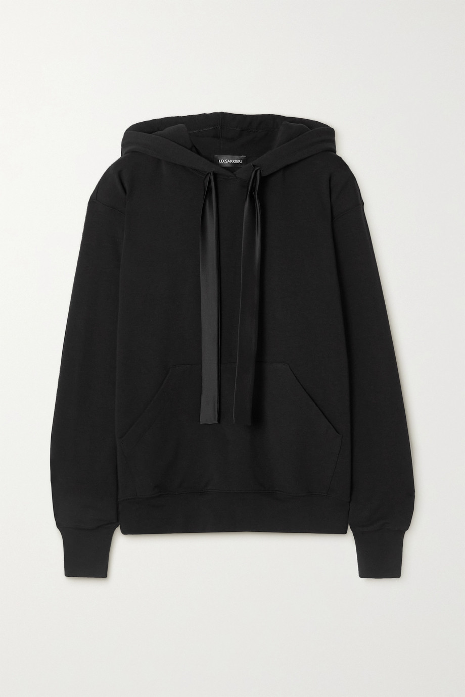 I.D. Sarrieri Break of Dawn satin-trimmed cotton-blend jersey hoodie