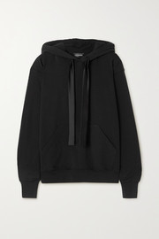 I.D. Sarrieri Satin-trimmed cotton-blend jersey hoodie