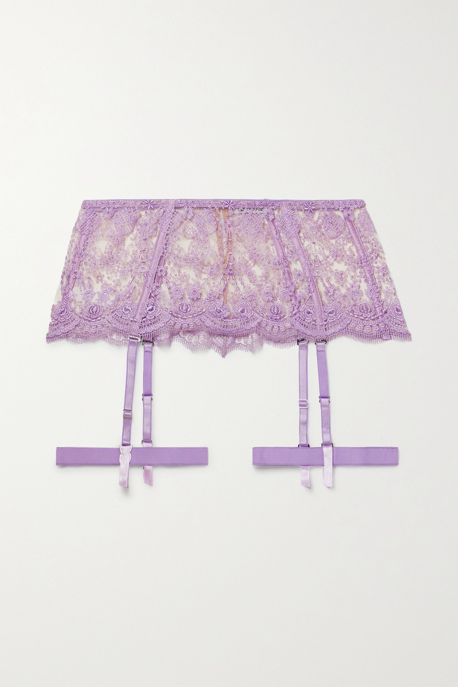 I.D. Sarrieri Satin-trimmed embroidered tulle suspender belt