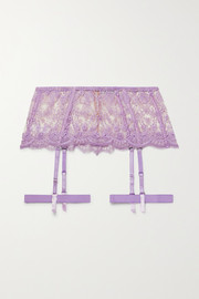 I.D. Sarrieri À la Rose satin-trimmed embroidered tulle suspender belt