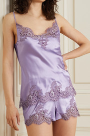 I.D. Sarrieri Hôtel Particulier Chantilly lace-trimmed silk-blend satin camisole