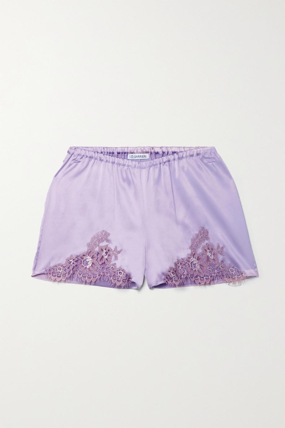 I.D. Sarrieri Hôtel Particulier Chantilly lace-trimmed silk-blend satin pajama shorts