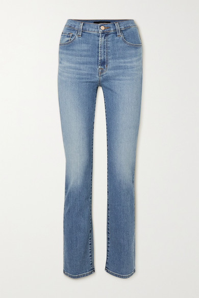 J Brand - Teagan High-rise Straight-leg Jeans - Mid denim