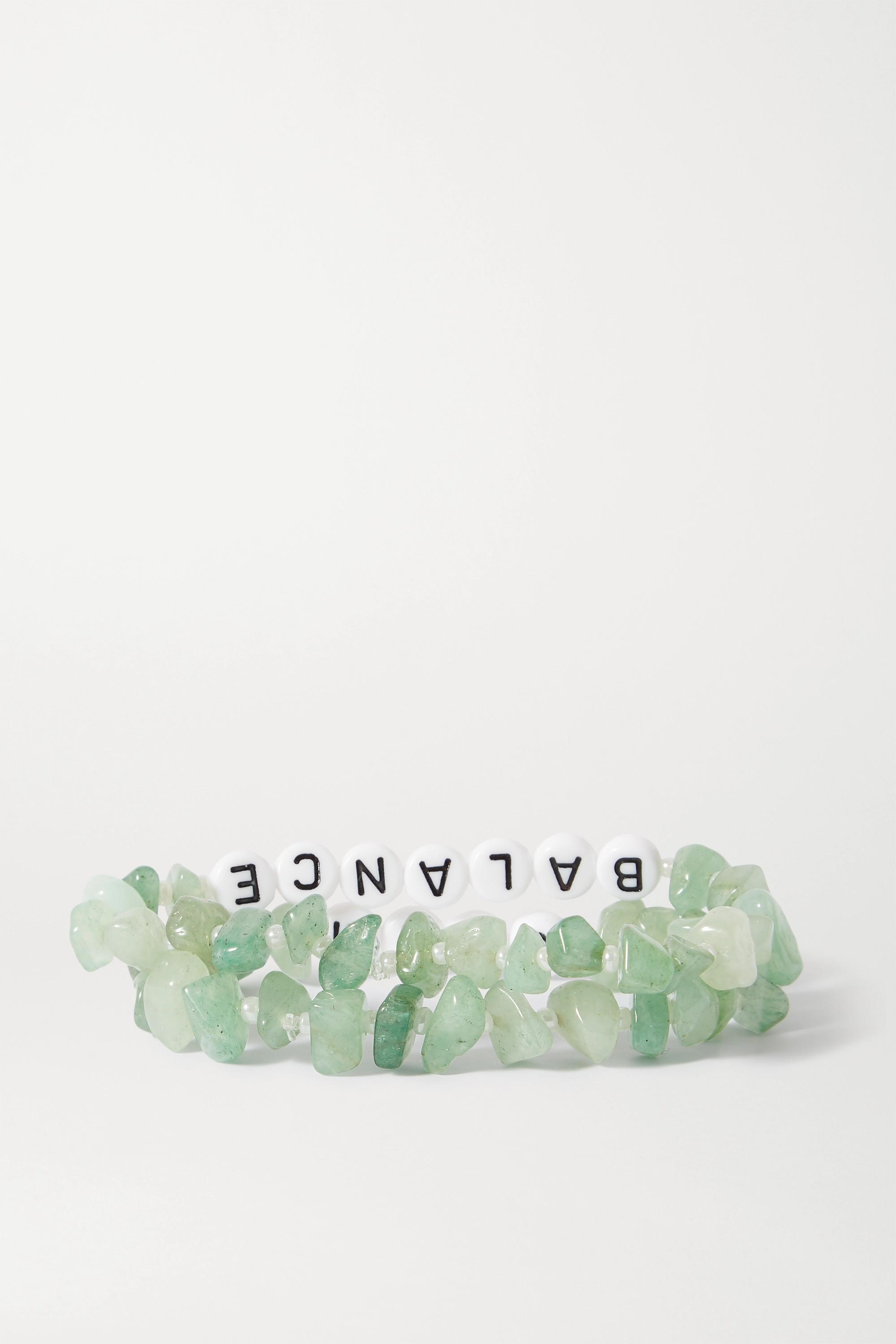 TBalance Crystals Set of two aventurine and enamel bracelets