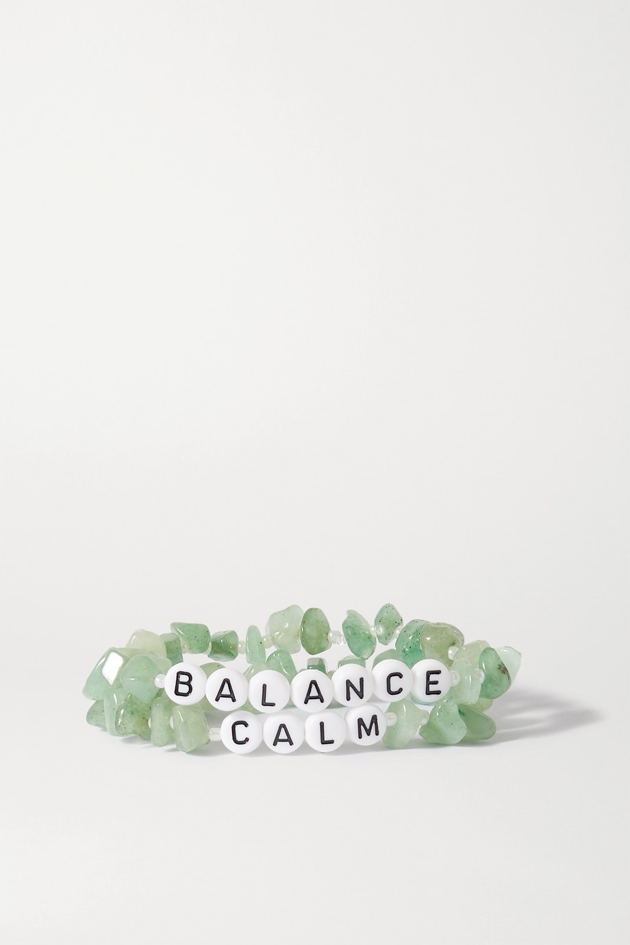 TBalance Crystals Set of two aventurine and enamel bracelets