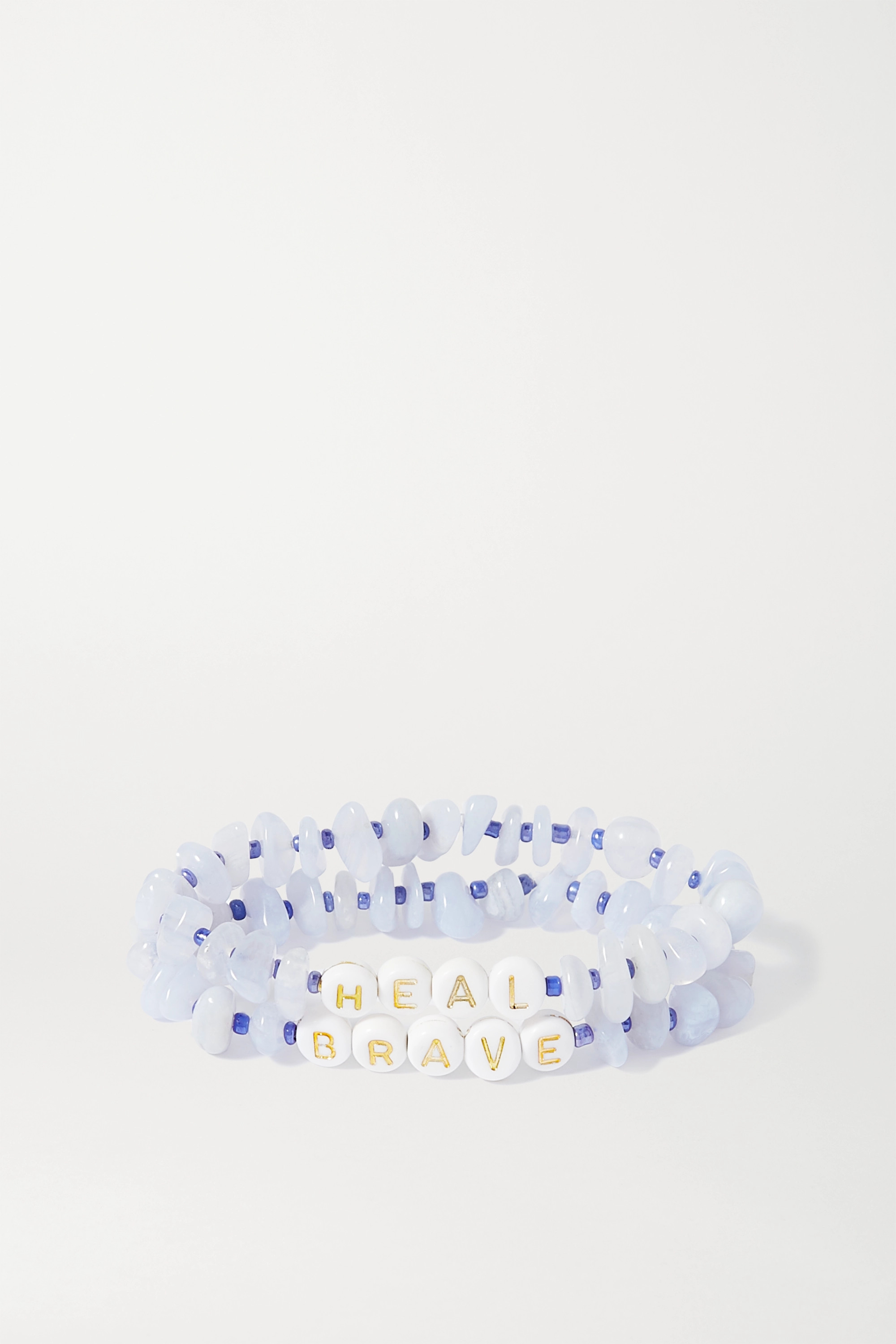 TBalance Crystals Set of two agate and enamel bracelets
