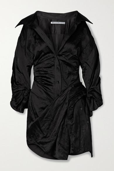 Alexander Wang Dresses RUCHED CRINKLED-SATIN MINI SHIRT DRESS
