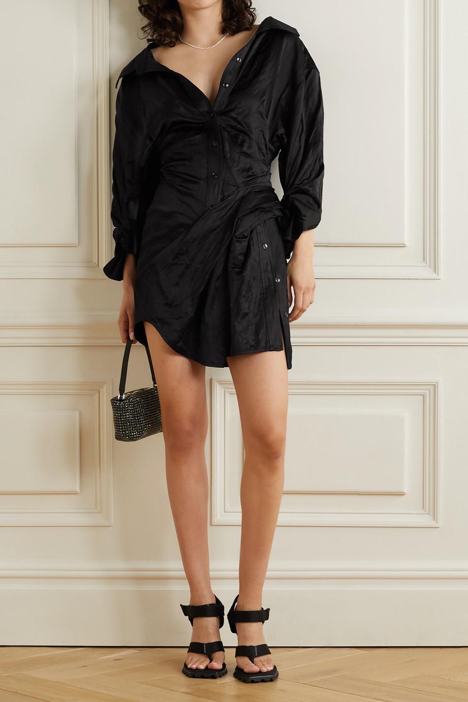Alexander Wang Ruched crinkled-satin mini shirt dress